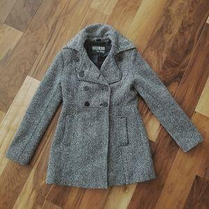 Ladies' Wool-Blend Herringbone Peacoat